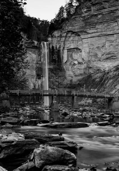Ithaca's Taughannock Falls in Black and White