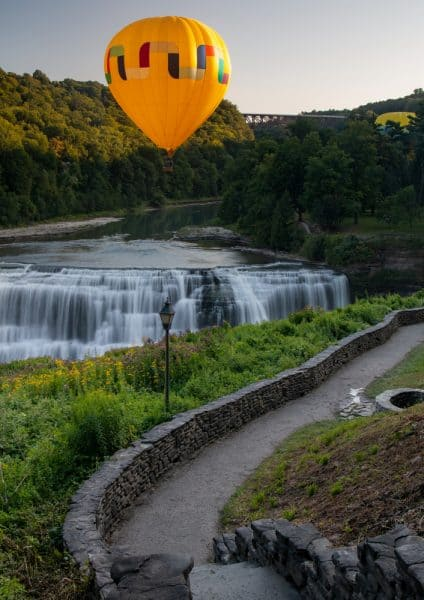 A hot air balloon over Middle Falls at Letchworth State Park