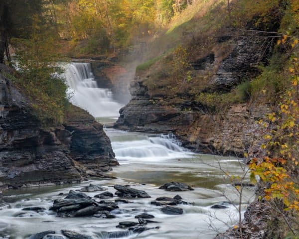 Letworth State Park's waterfalls are long the Genesee River