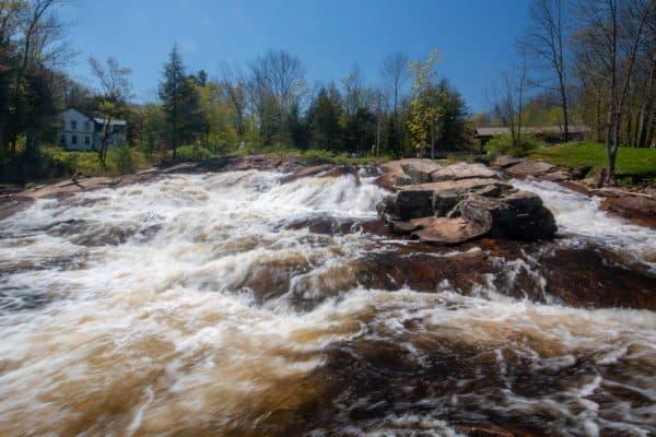 Salisbury Center Covered Bridge waterfall in New York