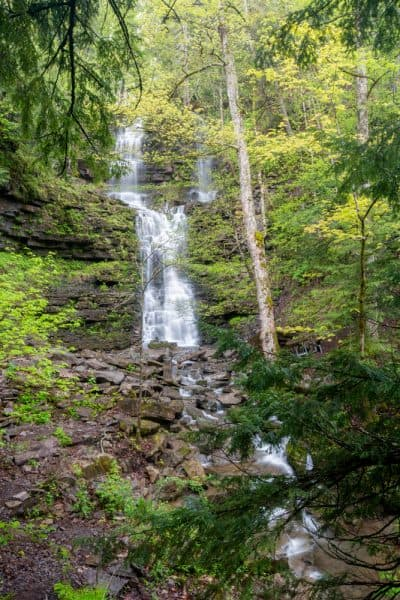 Side waterfall at Chittenango Falls State Park near Chittenango, New York