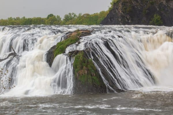 Close up on Cohoes Falls in Albany County, New York