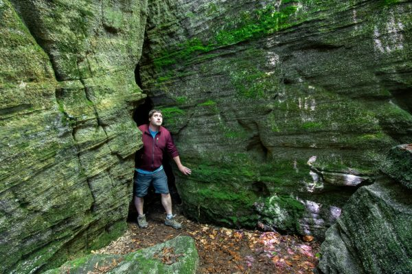 Exploring Panama Rocks near Jamestown, New York