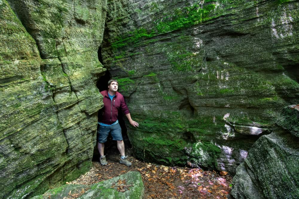 Exploring Panama Rocks near Jamestown, New York