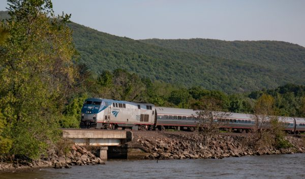 Amtrak Train on the Hudson River