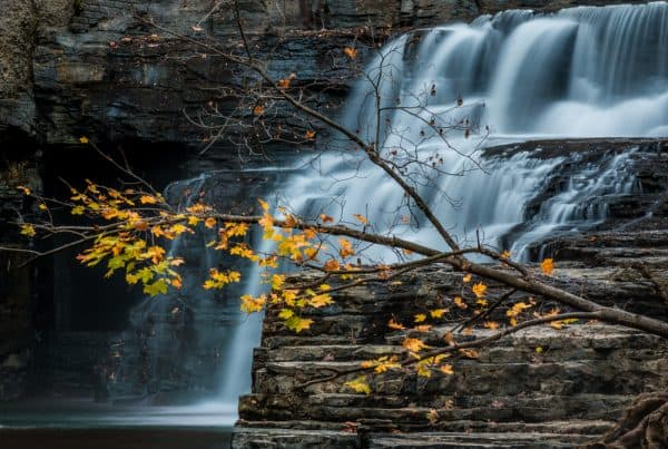 Side view of Wells Falls near Ithaca, New York