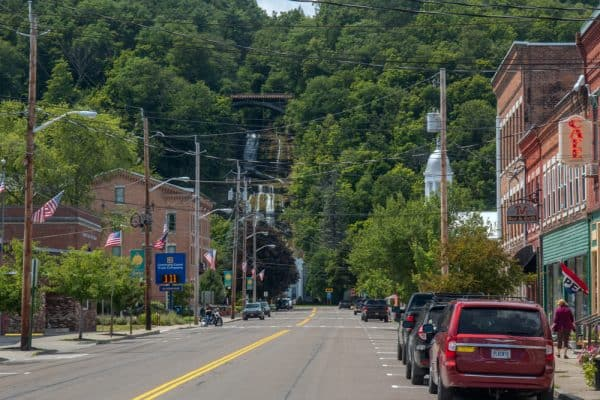 A road through Montour Falls New York