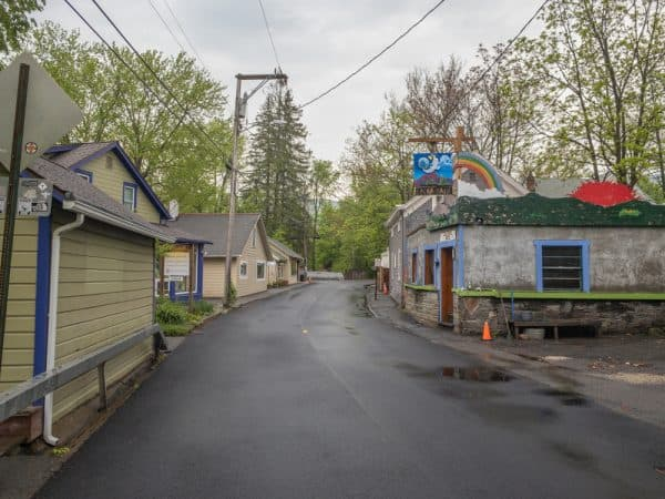 Looking down Tannery Brook Road towards the charming shops of Woodstock, New York