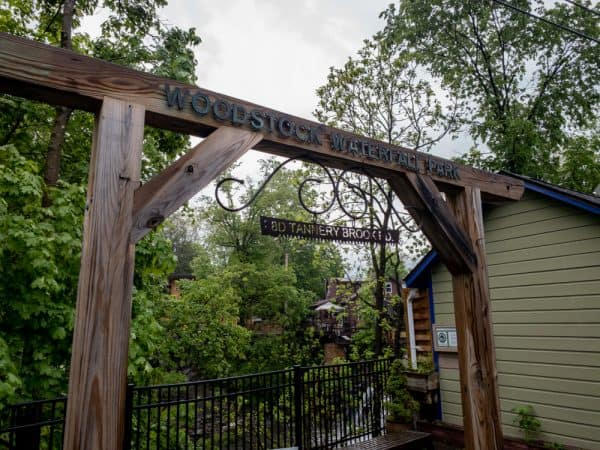 The entrance to Woodstock Waterfall Park in NY