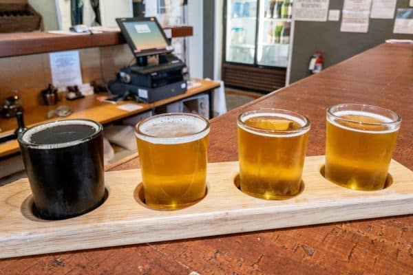 A flight of beer from Five & 20 Spirits and Brewing in Chautauqua County, NY
