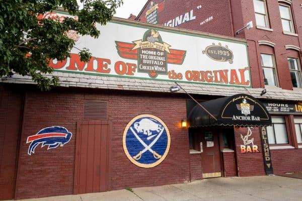 Eating at Anchor Bar in Buffalo, New York, home of the Original Buffalo Wings