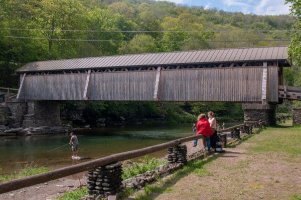Fishing at Beaverkill Covered Bridge in Sullivan County, New York