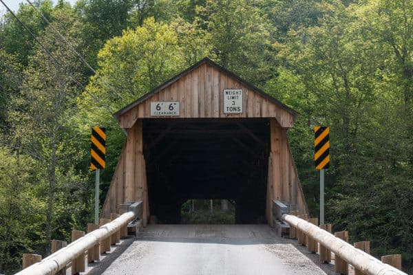 Front face of Beaverkill Covered Bridge in the Catskill Mountains