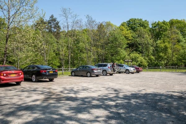 The parking area for the High Falls Conservation Area in Columbia County NY