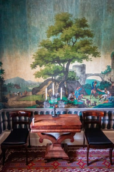 Dining room wallpaper at the Martin Van Buren National Historic Site in Columbia County, New York
