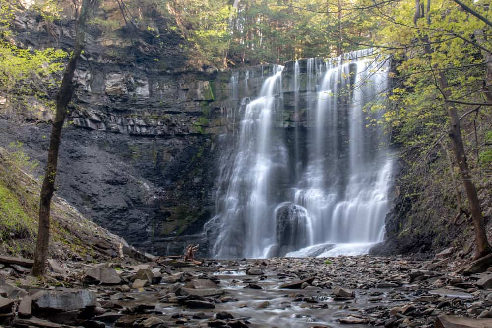 The waterfalls of Plotter Kill Preserve in Rotterdam New York
