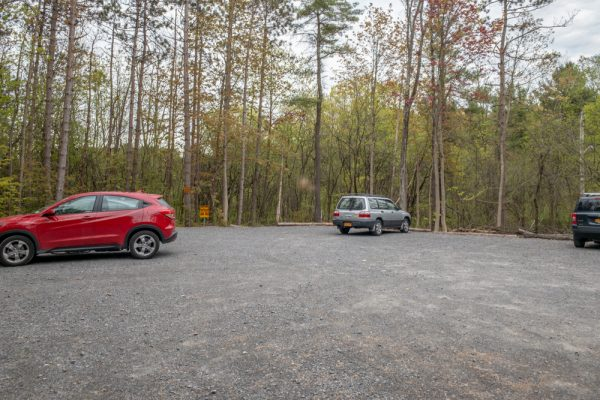Parking at Plotter Kill Preserve in Schenectady County, New York