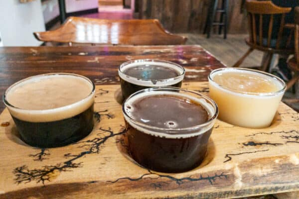 A flight of beers from Stout Beard Brewing in Onondaga County New York
