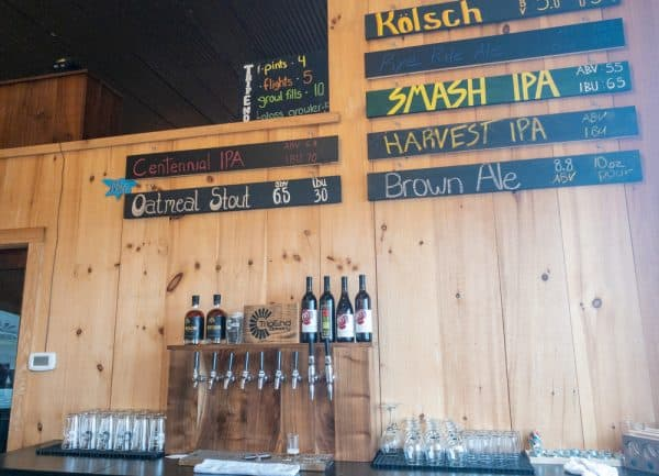 Beer list at TripEnd Brewing in the Finger Lakes