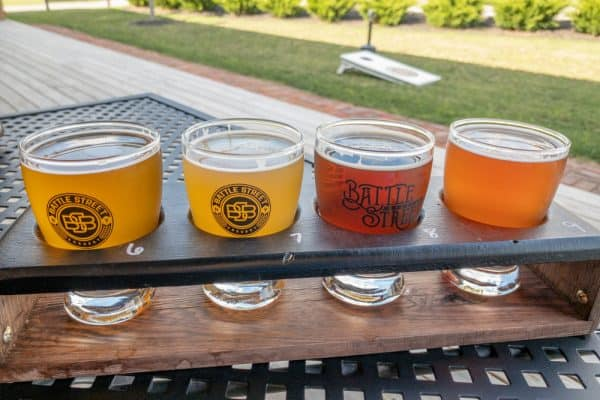 Flight of Beer at Battle Street Brewery in Livingston County New York