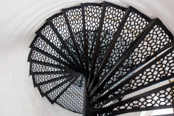 Spiral staircase in the Charlotte-Genesee Lighthouse in Rochester, NY