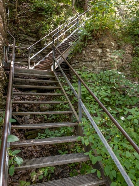 Metal staircase on trail to Eagle Cliff Falls at Havana Glen Park
