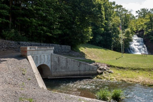 Holley Canal Falls in Canal Park in Orleans County, New York
