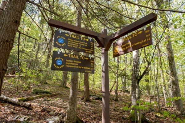 Trail marker at Kaaterskill Falls in Hunter, NY