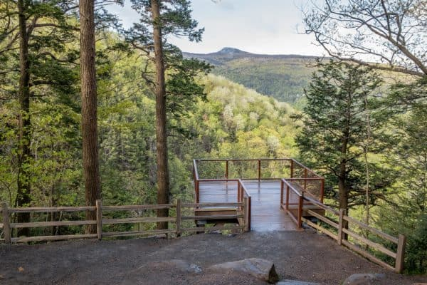 Viewing platform at Kaaterskill Falls in the Catskills of New York