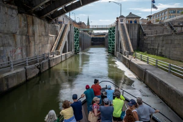 Riding a Lockport Locks and Erie Canal Cruises in Lockport, New York