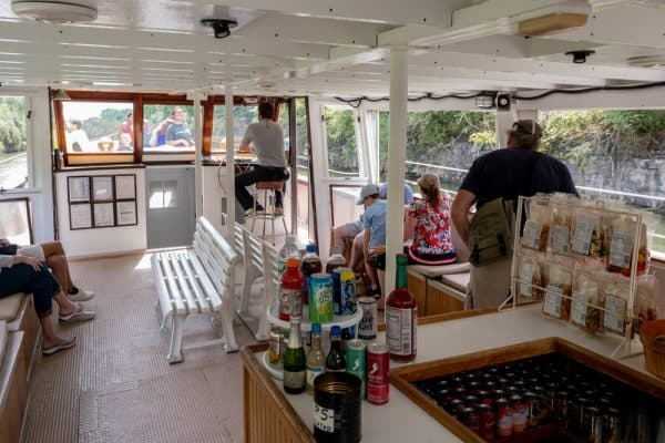 Snack bar on the Lockport Locks and Erie Canal Cruises in Niagara County, New York