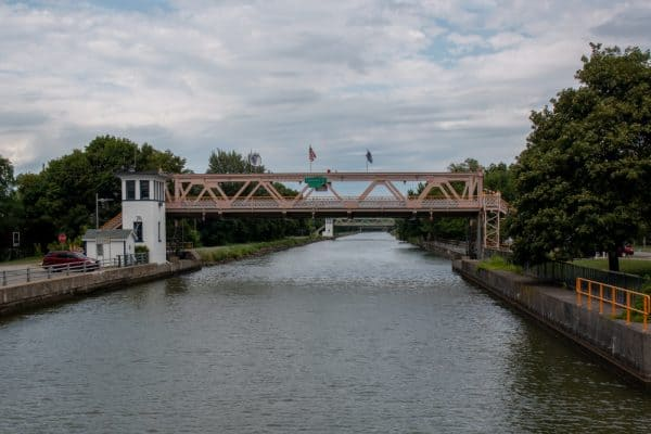 Raised bridges on the Erie Canal in Lockport, NY