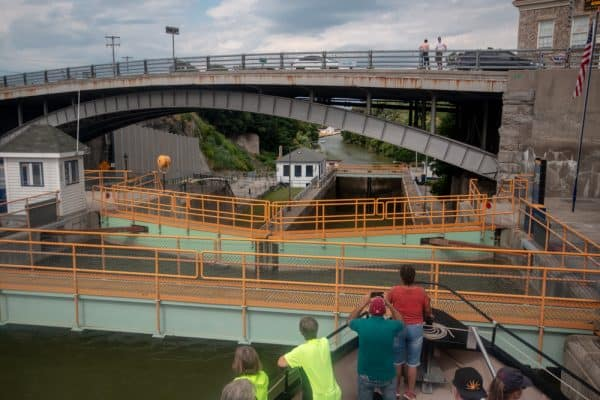 Travelings through the canal on a Lockport Locks and Erie Canal Cruises