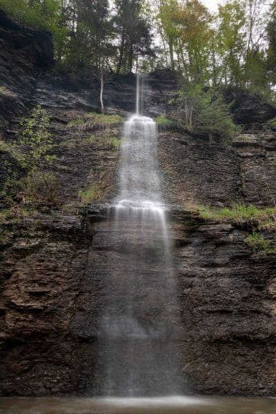 Vernal waterfall at Mine Kill State Park in New York