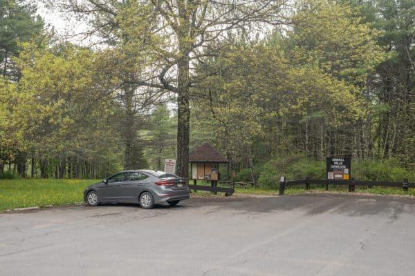 Parking area for Mine Kill Falls in Mine Kill State Park
