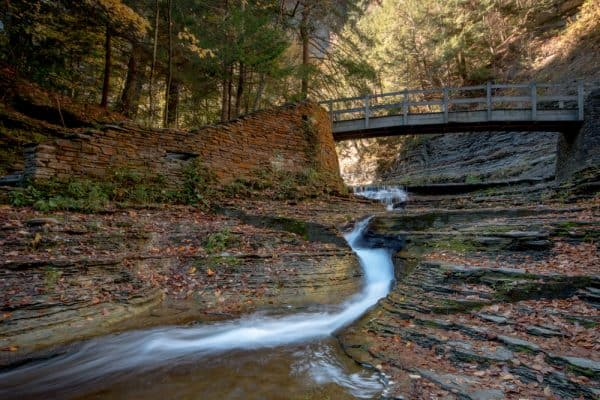 Small waterfall on the Gorge Trail at Stony Brook State Park in Steuben County New York