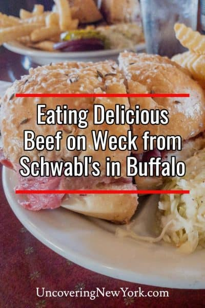 Eating beef on weck at Schwabl's in Buffalo, New York