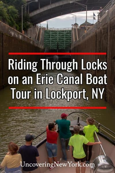 Riding through the Lockport Locks on the Erie Canal in Lockport, New York