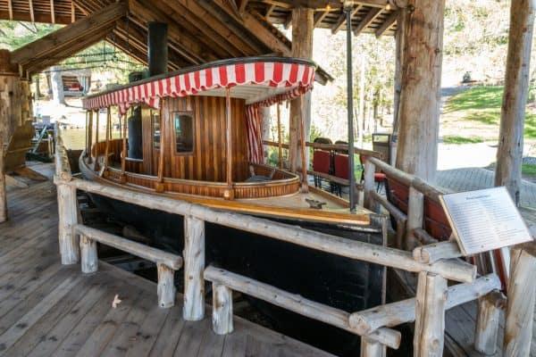 A historic boat on display at the Adirondack Experience in Hamilton County NY