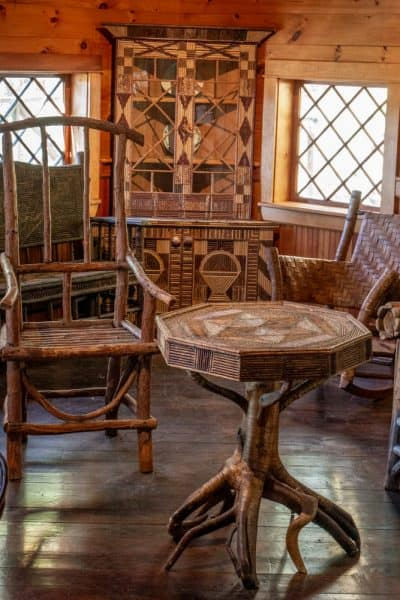 Rustic furniture display at the Adirondack Experience in Upstate New York
