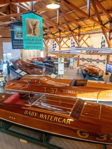 Motorboat racing display at the Antique Boat Museum in Clayton NY