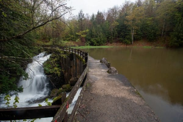 Dam and lake in Fillmore Glen State Park in New York