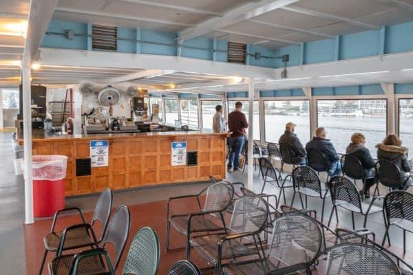 Seating and bar on the Minne Ha Ha in Lake George, New York