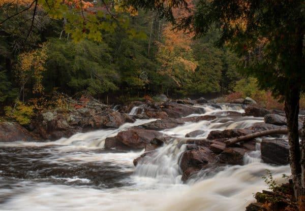 Waterfalls at the Natural Stone Bridge and Caves in the Adirondacks of New York.