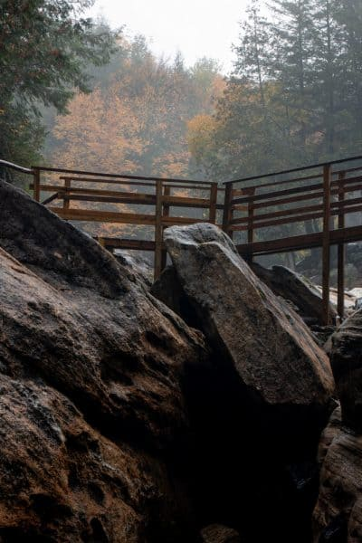 Trails at the Natural Stone Bridge and Caves in the Adirondacks