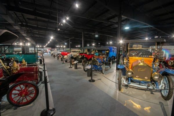 Cars on display inside the Northeast Classic Car Museum in Chenango County NY