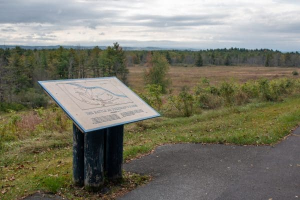 Signage along the self-guided driving tour at Saratoga National Historical Site