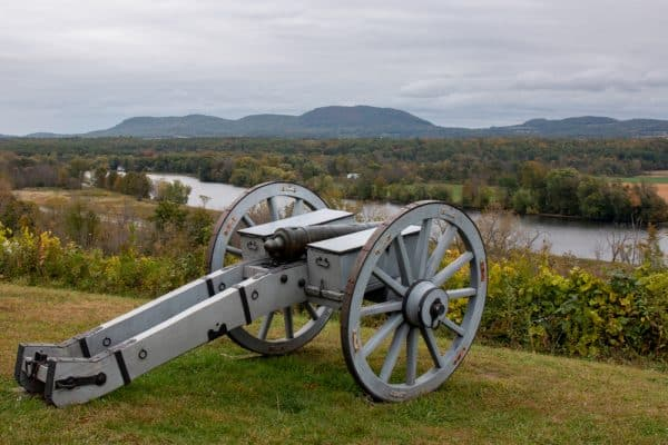 Cannon and Hudson River at the Saratoga Battlefield in Saratoga County, NY