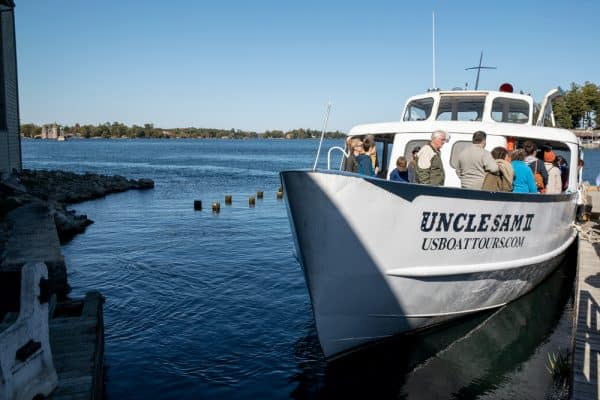 Uncle Sam Boat Tours shuttle to Boldt Castle in Alexandria Bay NY