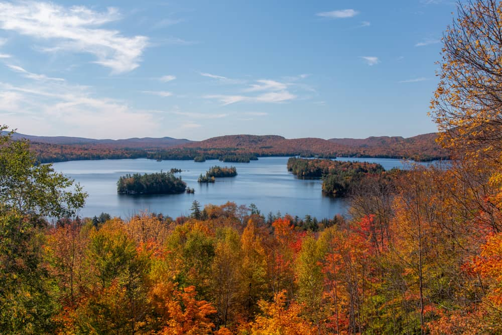 Blue Mountain Lake as seen from the Adirondack Experience